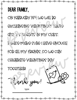 Editable Valentine's Class List and Letter