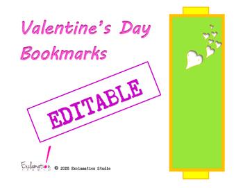 Editable Valentine's Day Bookmarks