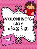 Editable Valentine's Day Class List & Letter