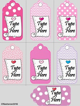Editable Valentine's Day Gift Tags  (Medium Size)