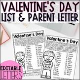 Editable Valentine's Day List