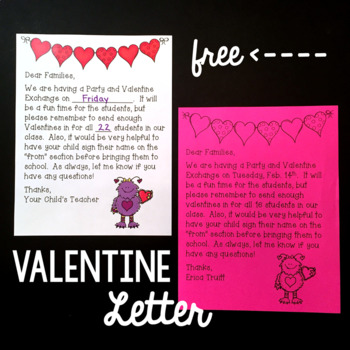 Editable Valentines Day Party Letter to Families  Parents FREEBIE