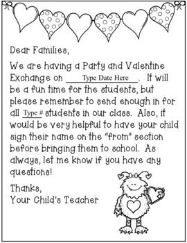 Valentines Day Party Letter to Families  Parents FREEBIE