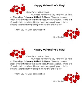 Editable Valentine's Day Party Reminder