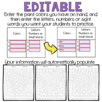 Editable Valentine's Math or Literacy Activity with Q-tips (prek & kindergarten)
