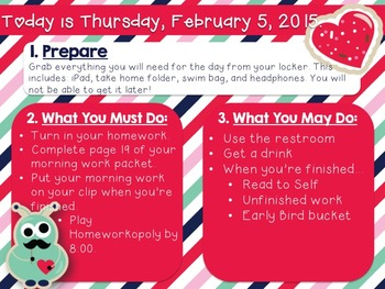 Editable Valentine's Daily Morning Work/Message Template