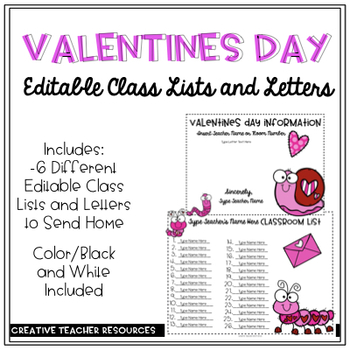 Editable Valentines Day Class Lists