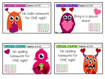 Editable Valentine's Day Monster Coupons