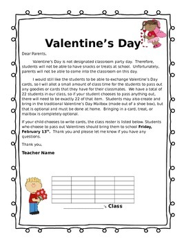 Editable Valentines day letter for parents by Jessica McAllister