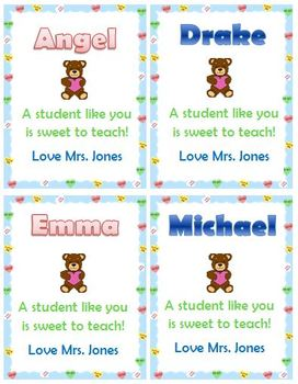 Editable Valentines for Teachers to give