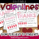 Editable Valentines from teachers to students