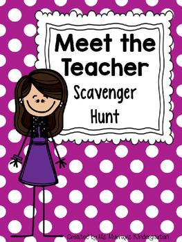 Editable Version of My Meet The Teacher Scavenger Hunt