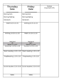 Editable Vertical Planning Template