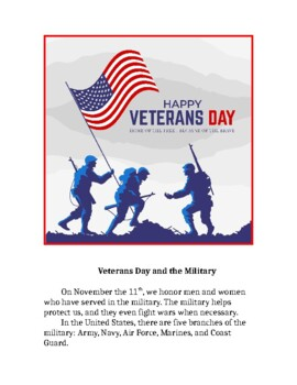 Editable Veterans Day Article with Questions