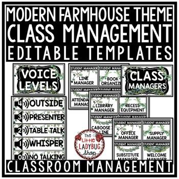 Farmhouse Classroom Decor Editable- Class Managers, Student Jobs, Behavior Chart