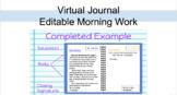 Virtual Journal:Editable Writing/Morning Work