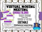 Editable Virtual Morning Meeting Google Slides Distance Learning