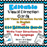 Editable Visual Direction Cards For The Classroom