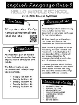 Creative Visual Syllabus Templates for Back to School - EDITABLE BUNDLE!