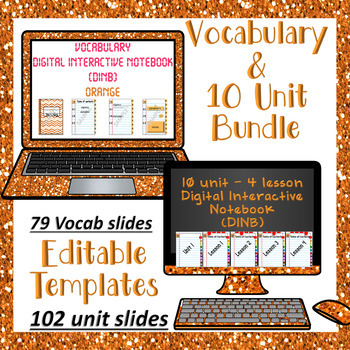 Editable Vocabulary & 10 Unit - 4 Lesson Orange DINB