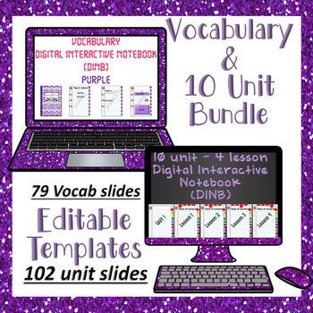 Editable Vocabulary & 10 Unit - 4 Lesson Purple DINB