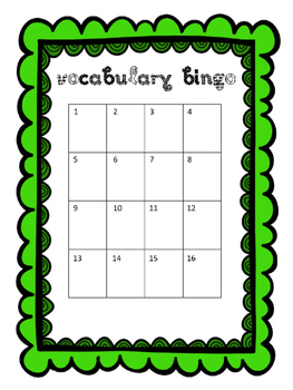 Editable Vocabulary Bingo