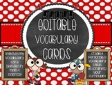 Editable Vocabulary Cards