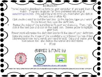 Editable Vocabulary Cards