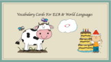 Editable Vocabulary Cards for ELA & World Languages