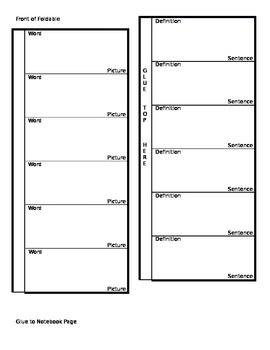 Editable Vocabulary Foldable