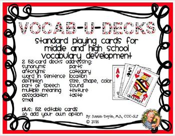 Editable Vocabulary Playing Card Decks