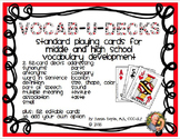 Editable Vocabulary Playing Card Decks