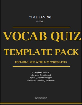 Editable Vocabulary Quiz Template by Amy Isaman TpT
