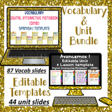 Editable Vocabulary & Unit Template Bundle for Avancemos 1