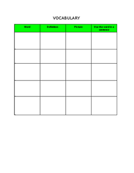 Editable Vocabulary Worksheet