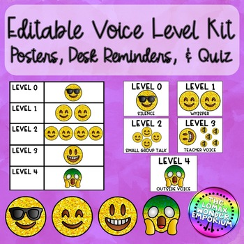 Editable Voice Levels Posters, Desk Reminders, and Quiz