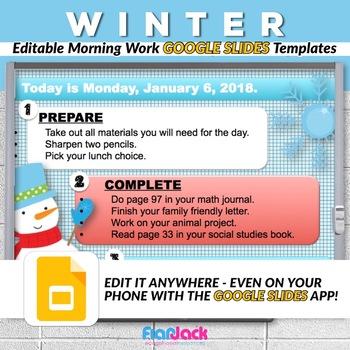 Editable WINTER Morning Work GOOGLE SLIDES Templates