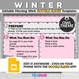 Editable WINTER Owl Themed Morning Work GOOGLE SLIDES Templates