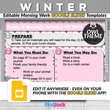 Editable WINTER Owl Themed Morning Work GOOGLE SLIDES Templates