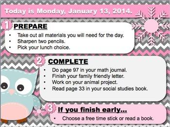 Editable WINTER Owl Themed Morning Work PowerPoint Templates