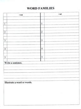 Editable WORD FAMILIES GRAPHIC ORGANIZER WORKBOOK  Grade 1