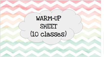 Editable Warm Up Sheet