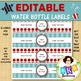 Editable Water Bottle Labels - Red & Blue