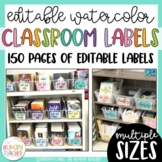 Editable Water Color Labels Colorful Classroom Decorations