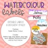 Editable Water Colour Labels