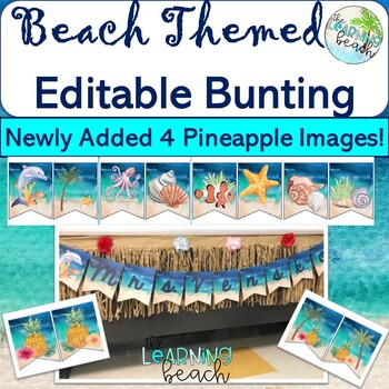 Editable Watercolor Beach BUNTING for Back to School {Sea Animals/Beach Images}