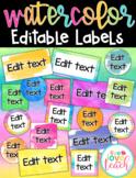 Editable Watercolor Brights Labels