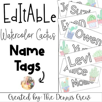 Editable Watercolor Cactus Name Tags