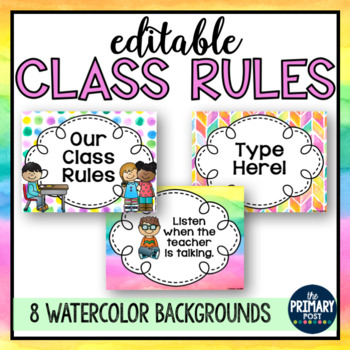 EDITABLE Watercolor Class Rules