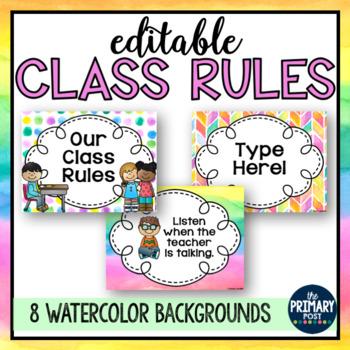 EDITABLE Watercolor Class Rules
